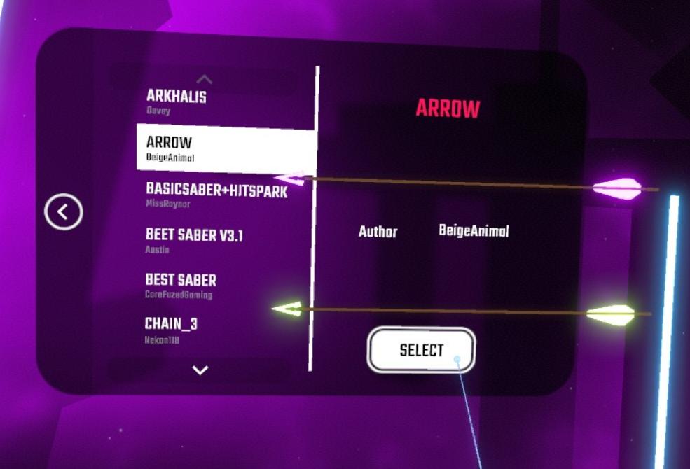 دانلود مدل شمشیر Arrows برای بازی بیت سیبر Beat Saber